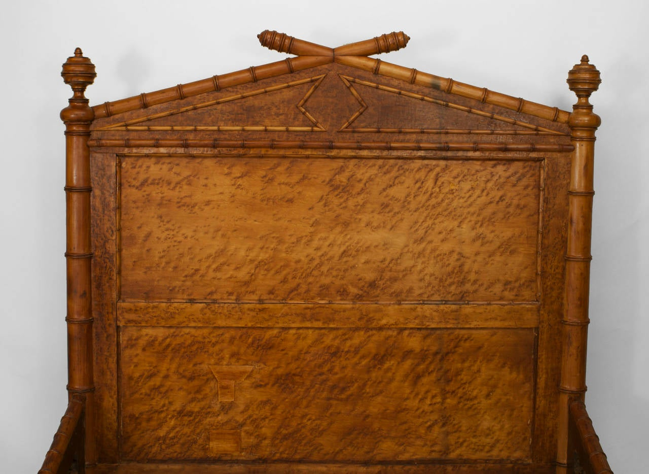 Birdseye Maple Late 19th Century American Faux Bamboo Queen Size Bed For Sale