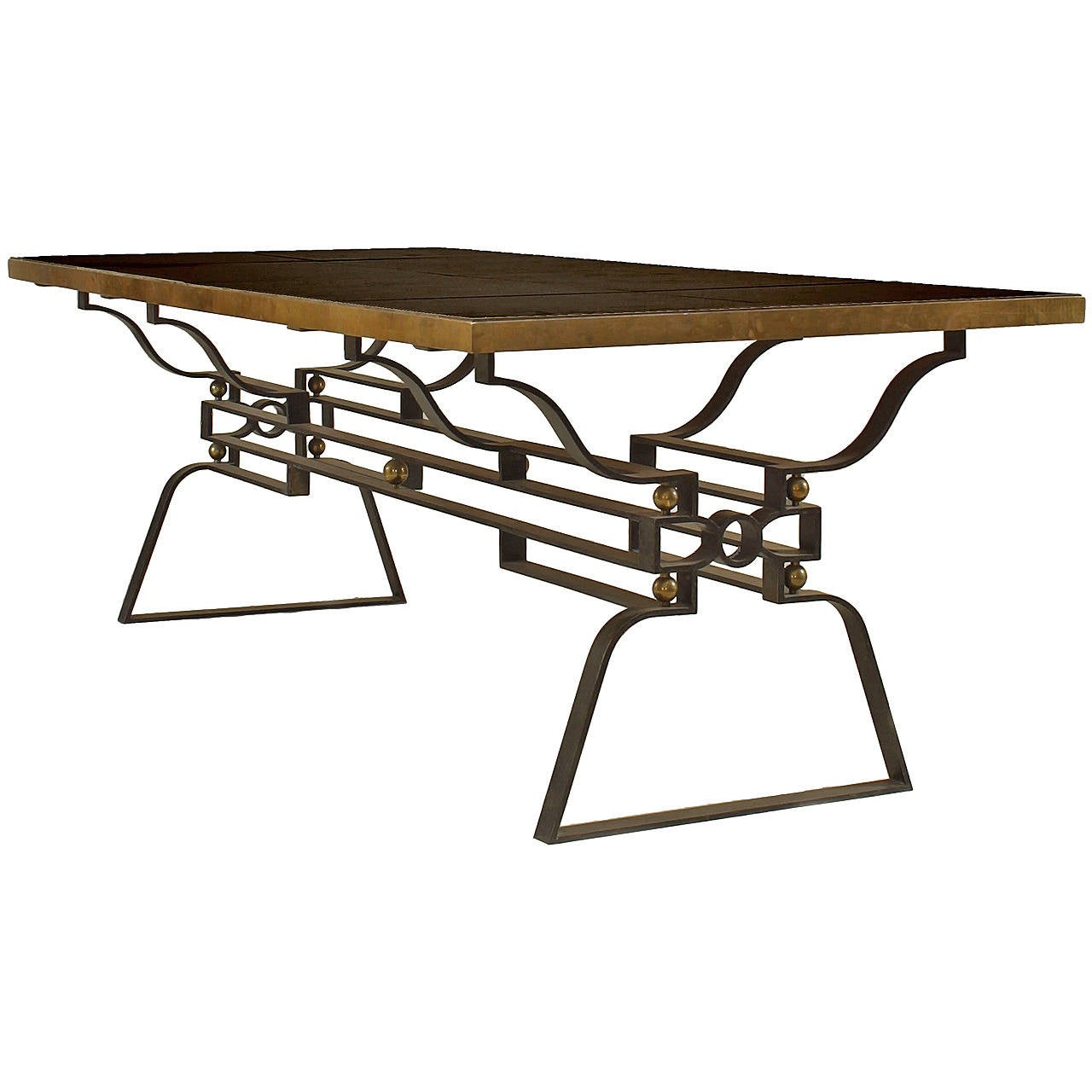 Sensational French Marble, Bronze and Iron Dining Table, Att: to Poillerat