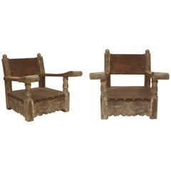 Pair of 1920s Mexican Oversized Weathered Wood and Leather Armchairs
