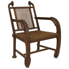 British Arts & Crafts Style Stained Oak Armchair
