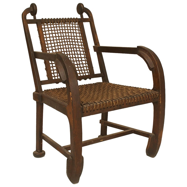 British Arts & Crafts Style Stained Oak Armchair For Sale