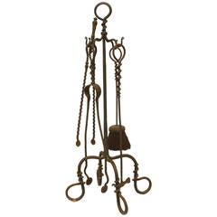 Set of Four American Aesthetic Movement Wrought Iron Fire Tools