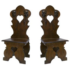 Pair of Italian Renaissance Style Sgabello Side Chairs