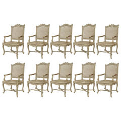 Set of Ten French Regence Style White Painted Chairs