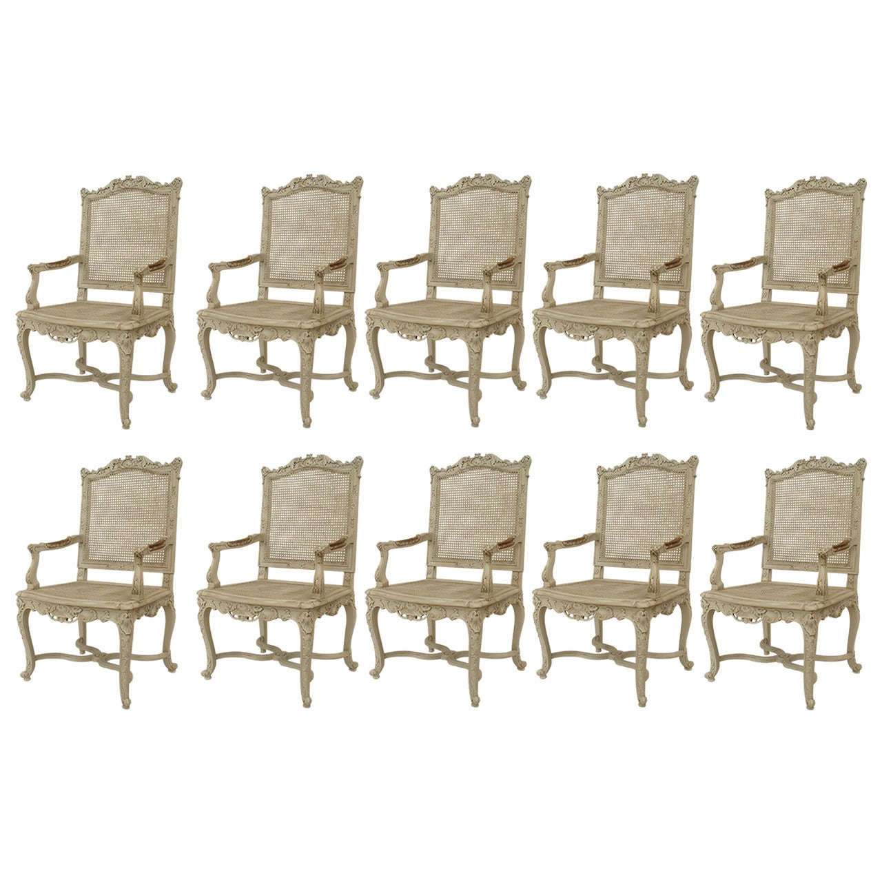 Set of 10 French Regence Carved Chairs