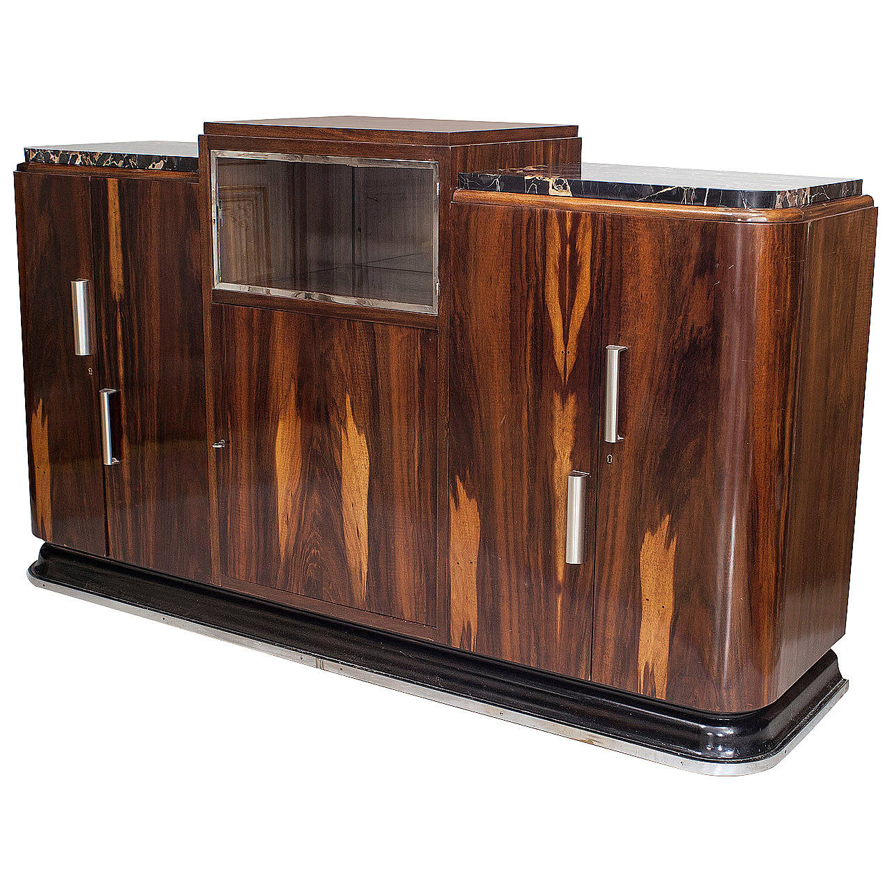 french art deco rosewood and chrome sideboard for sale at. Black Bedroom Furniture Sets. Home Design Ideas