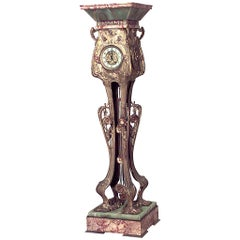 French Art Nouveau Ormolu, Marble, and Onyx Grandfather Clock