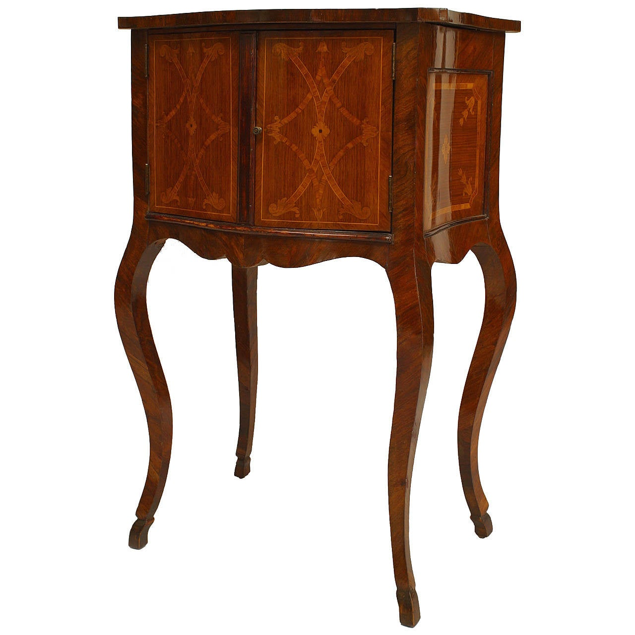 Italian Neoclassical Marquetry Inlaid Walnut Bedside Commode
