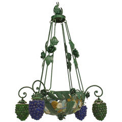 Italian Murano Glass and Painted Metal Grape Cluster Chandelier