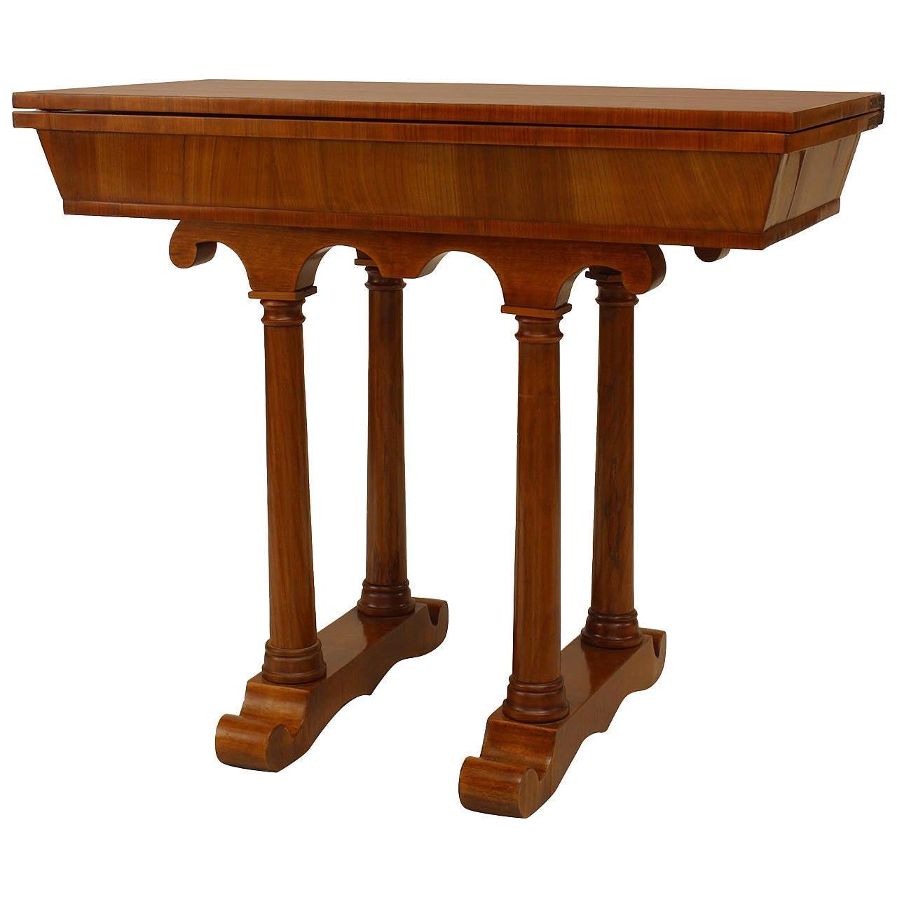 Early 19th Century Austrian Biedermeier Cherrywood Console Game Table