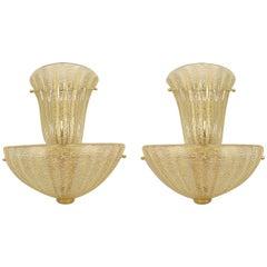 Pair of Italian Gold-Flecked Murano Glass Sconces