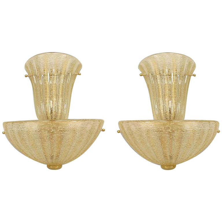 Pair of Italian Gold-Flecked Murano Glass Sconces For Sale