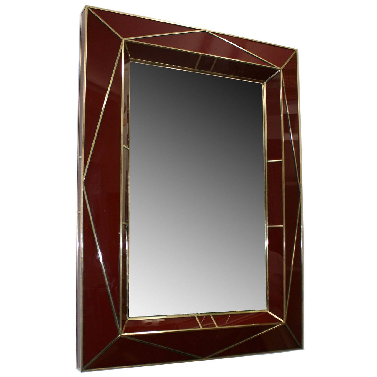 Contemporary American Brass-Trimmed Colored Glass Mirror