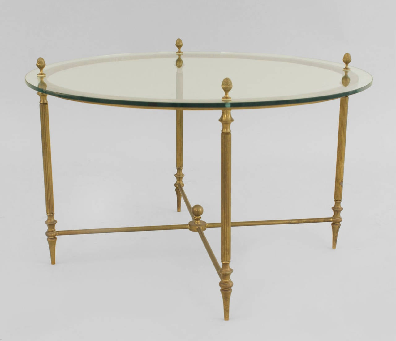Mid century american brass coffee table with four nested for Mid century american furniture