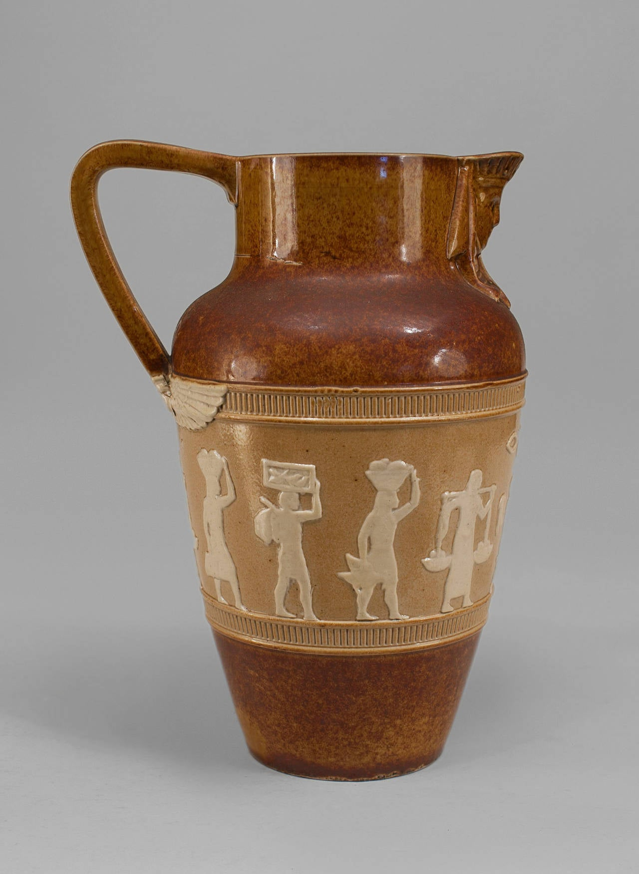 British 1920s English Egyptian Revival Pitcher by Doulton For Sale