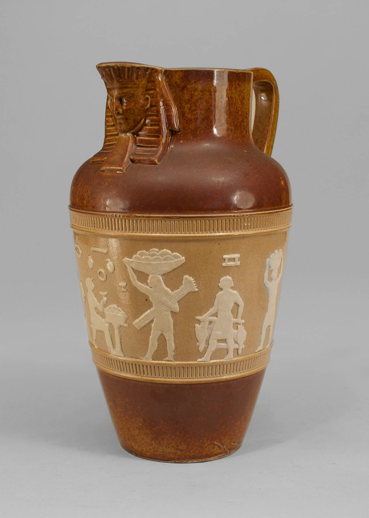 Early 20th Century 1920s English Egyptian Revival Pitcher by Doulton For Sale