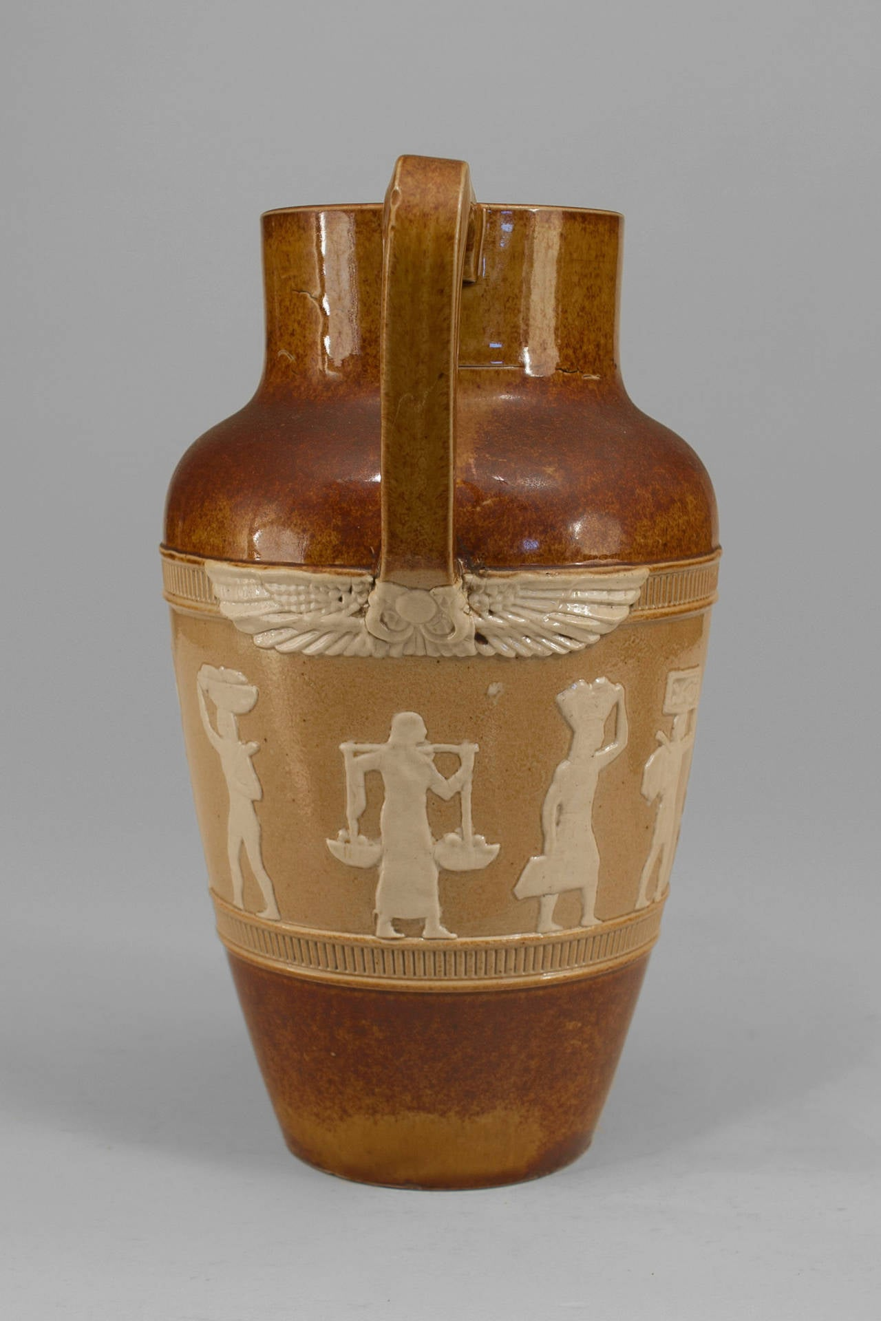 1920s English Egyptian Revival Pitcher by Doulton In Excellent Condition For Sale In New York, NY