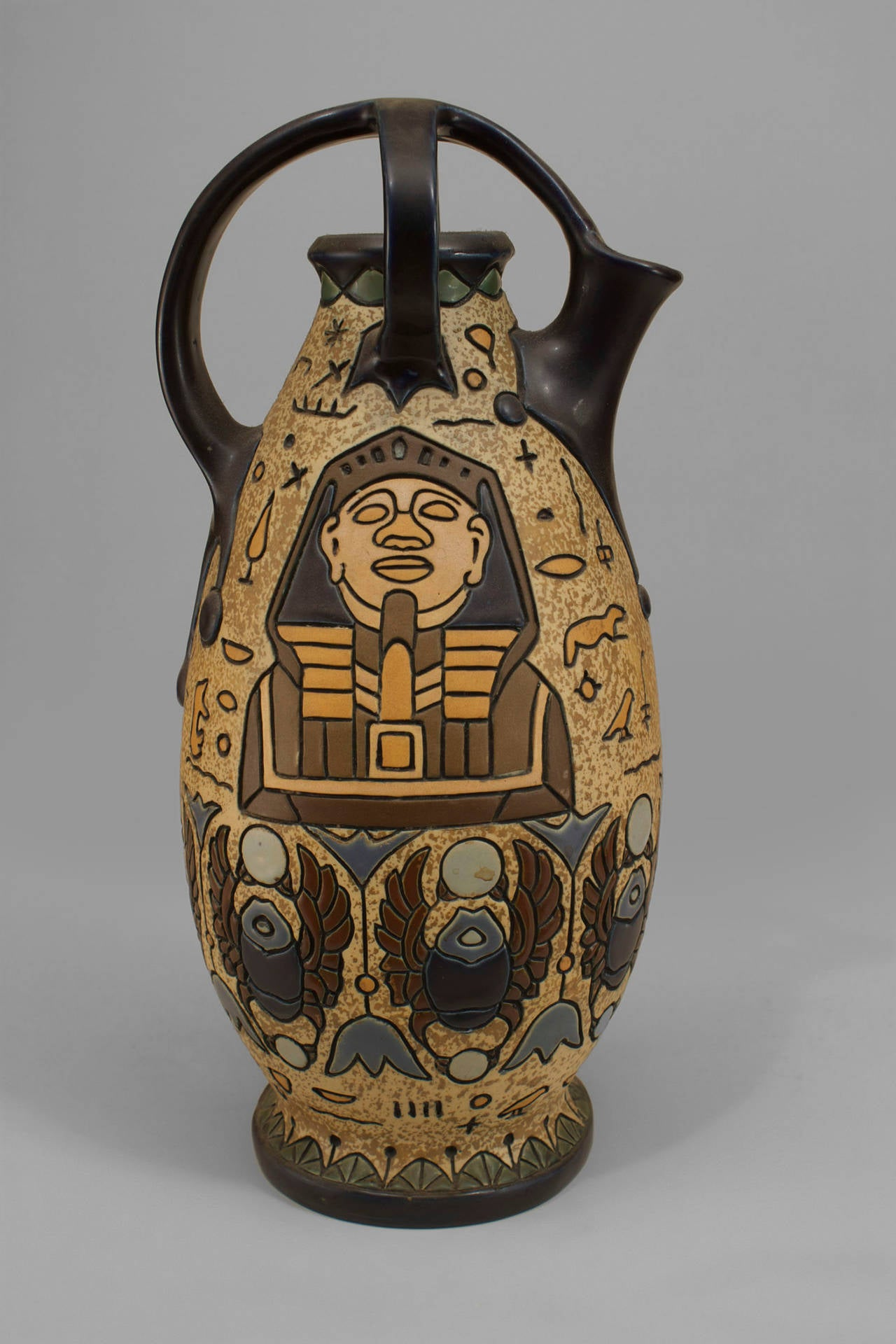 European Early 20th c. Czechoslovakian Egyptian Revival Amphora For Sale