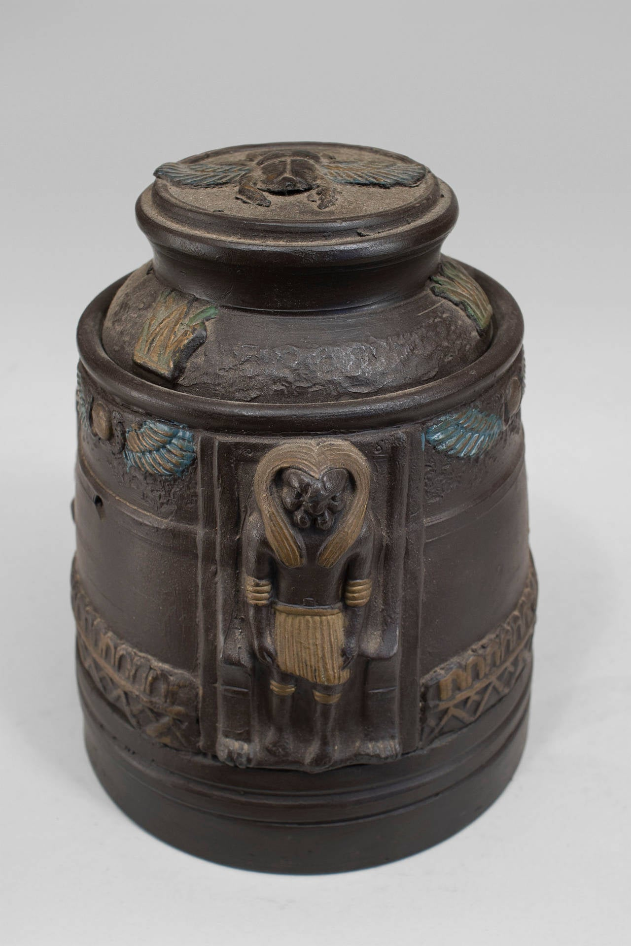 Early 20th Century 1920s Japanese Egyptian Revival Tobacco Jar For Sale