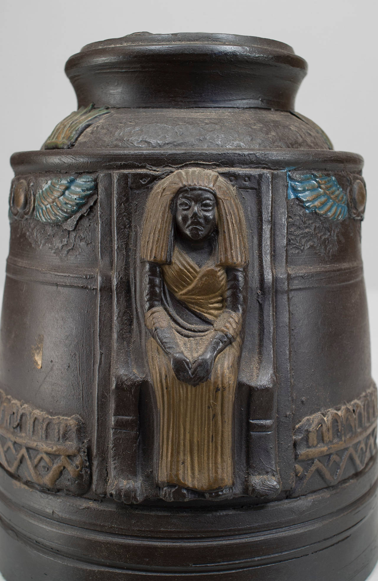 1920s Japanese Egyptian Revival Tobacco Jar For Sale 2