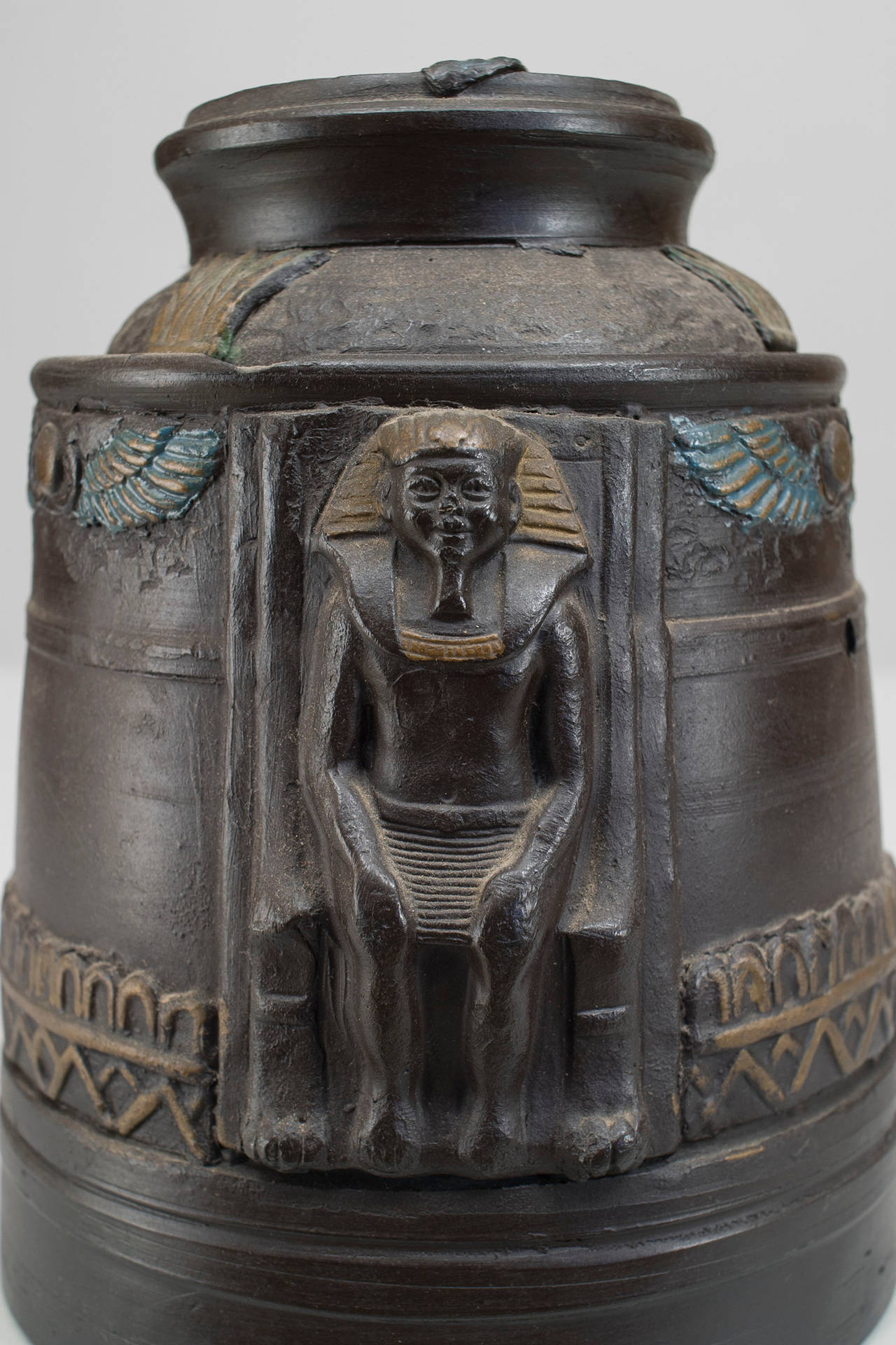 1920s Japanese Egyptian Revival Tobacco Jar For Sale 1
