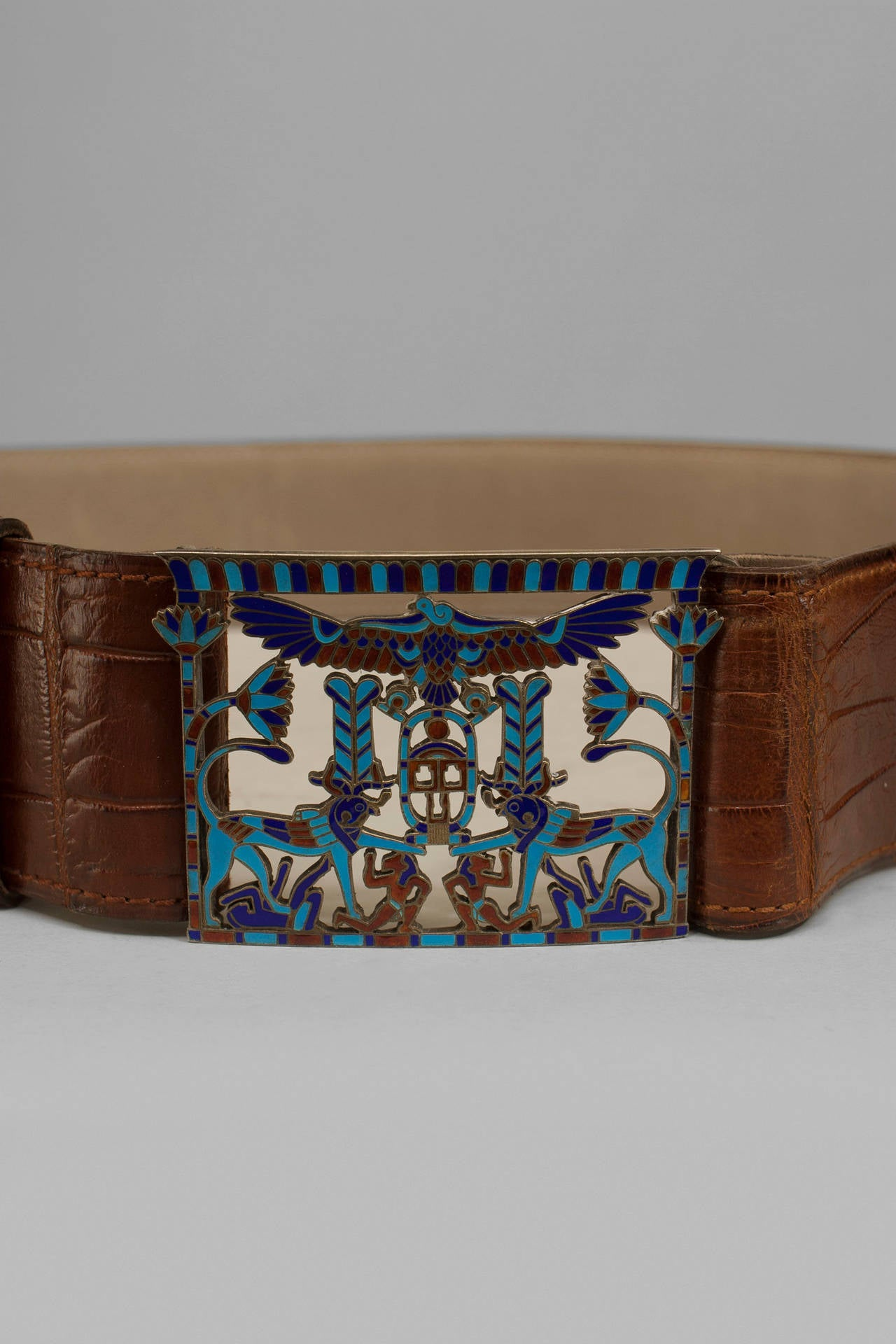 French Egyptian Revival crocodile belt with an Egyptian themed cloissone buckle.