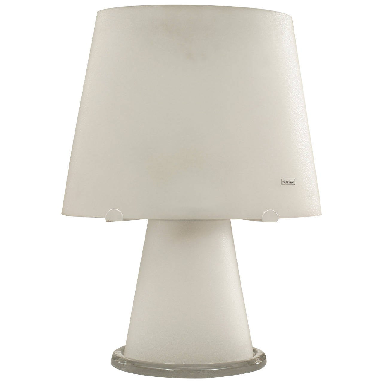 italian murano frosted glass table lamp for sale at 1stdibs. Black Bedroom Furniture Sets. Home Design Ideas