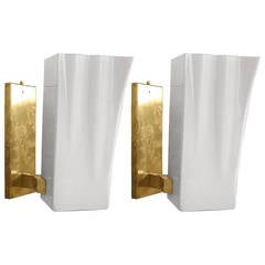 Pair of Mid-Century Italian Murano and Brass Sconces, Att: to Fontana Arte
