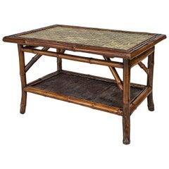 English Bamboo and Green Tile Rectangular Coffee Table