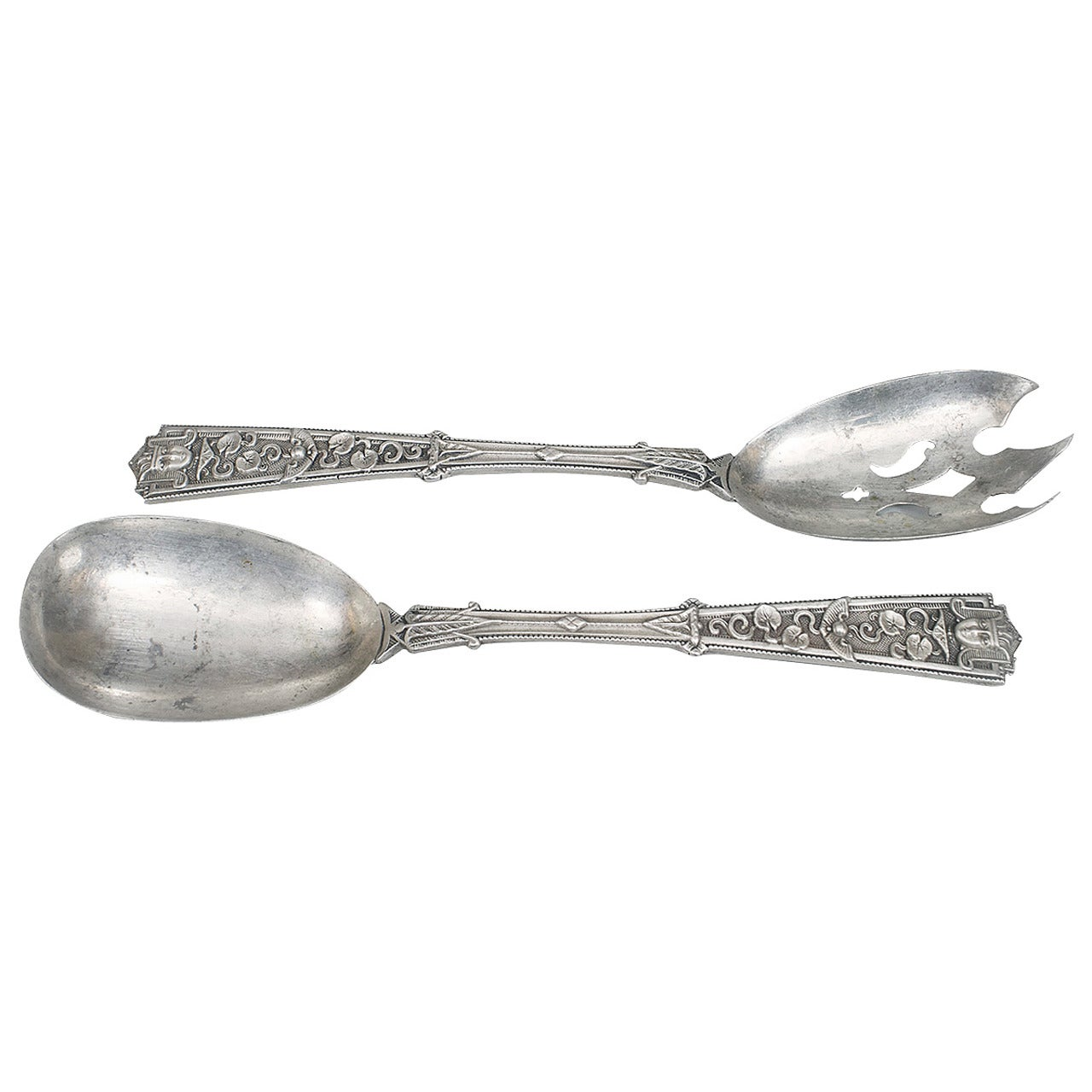 Pair of English Arts & Crafts Egyptian Revival Silver Spoons