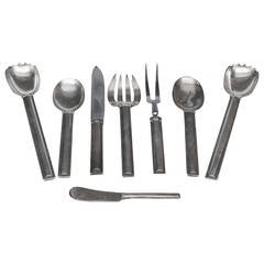 Set of Eight French Art Deco Sterling Serving Utensils by Jean E. Puiforcat
