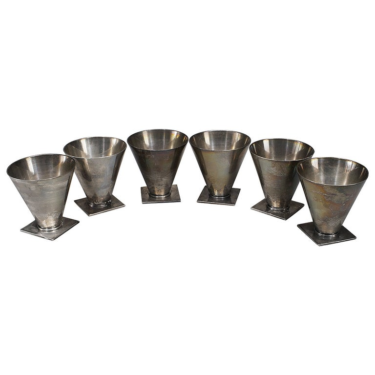 Set of Six American Art Deco Sterling Cordial Cups by Tiffany & Co For Sale
