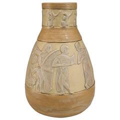 Austrian Art Deco Egyptian Revival Vase Attributed to Jules Dressler