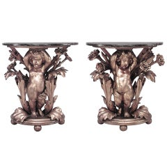 Pair of French Louis XV Gilt Cupid Marble Top Console Tables