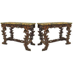Pair of 19th Century Black Forest Console Tables