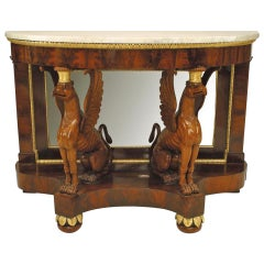 Early 19th c. Russian Neoclassical Mirrored Gilt Mahogany Console