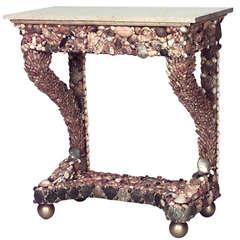 1940's Italian Grotto Style Seashell Console Table