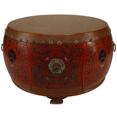Turn of the Century Chinese Lacquered Round Coffee Table