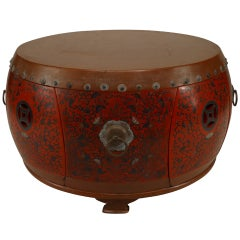 Asian Chinese Style Red Coromandel Drum Coffee Table