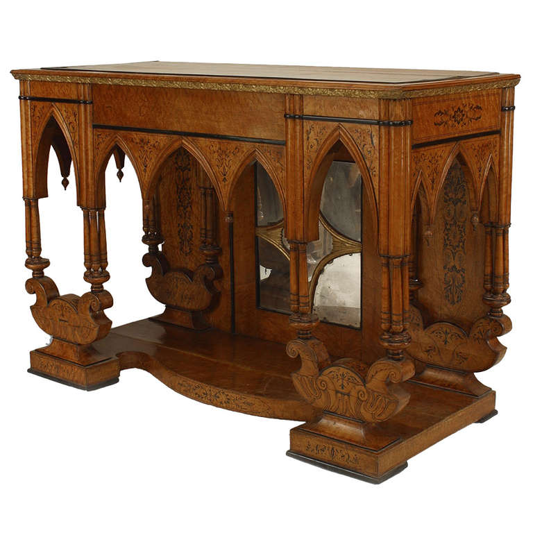 French Charles X Birdu0027s Eye Maple Console With Gothic Motifs 1