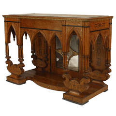 French Charles X Bird's Eye Maple Console with Gothic Motifs