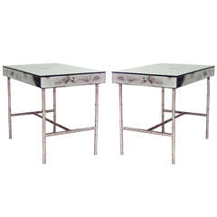 Pair of 1940's French Low Mirrored End Tables