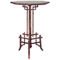 19th c. French Gilt and Lacquered Faux Bamboo End Table
