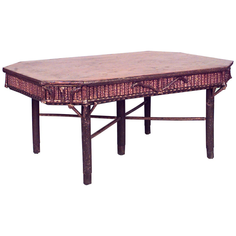 20th c. Rustic Adirondack Dining Table