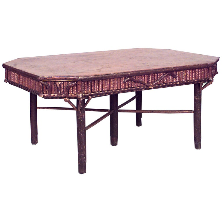 20th c. Rustic Adirondack Dining Table For Sale