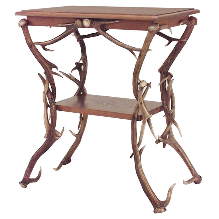 19th c. German Rustic Horn and Antler End Table 1