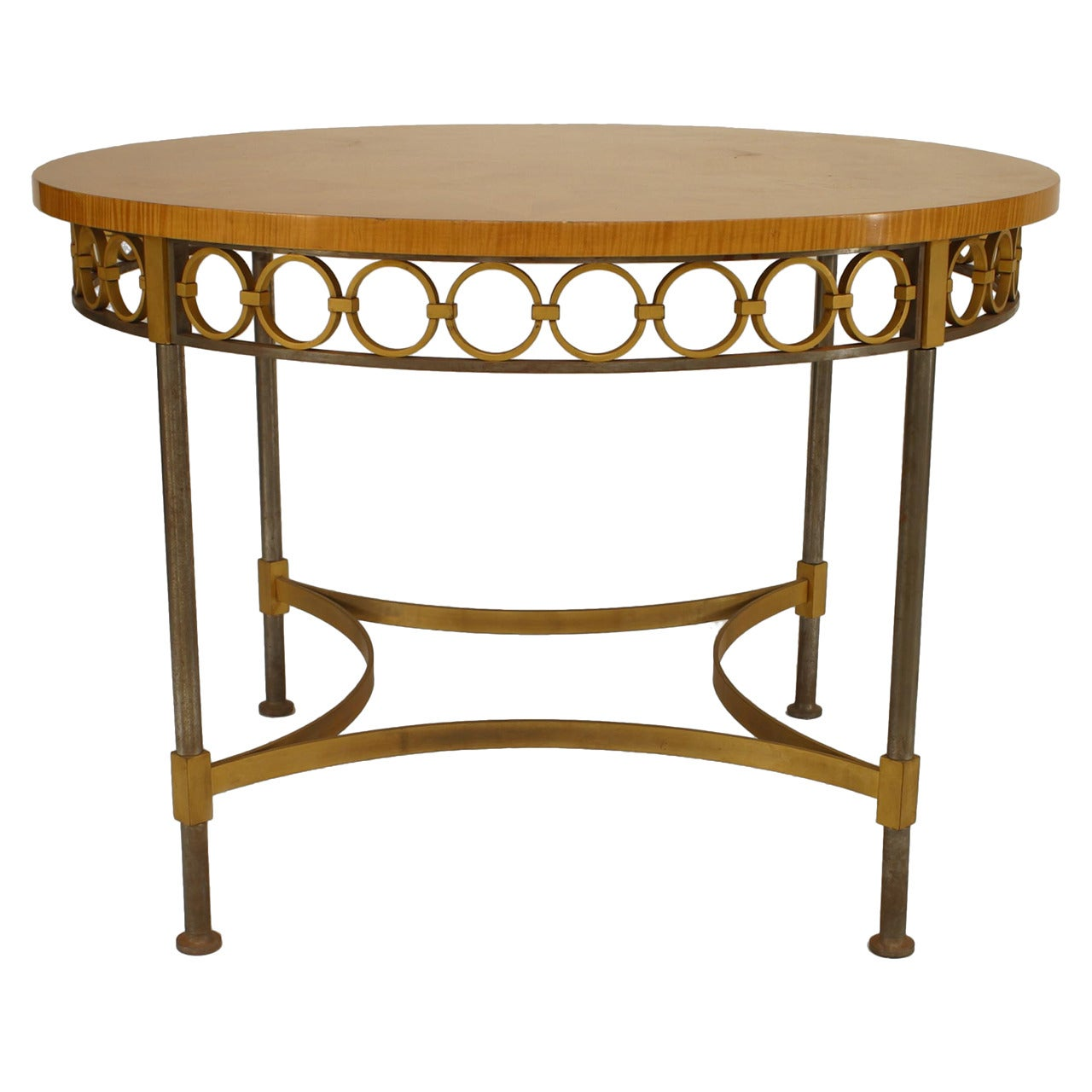 Art Deco French Maple Tea Table, Attributed to Arbus and Subes