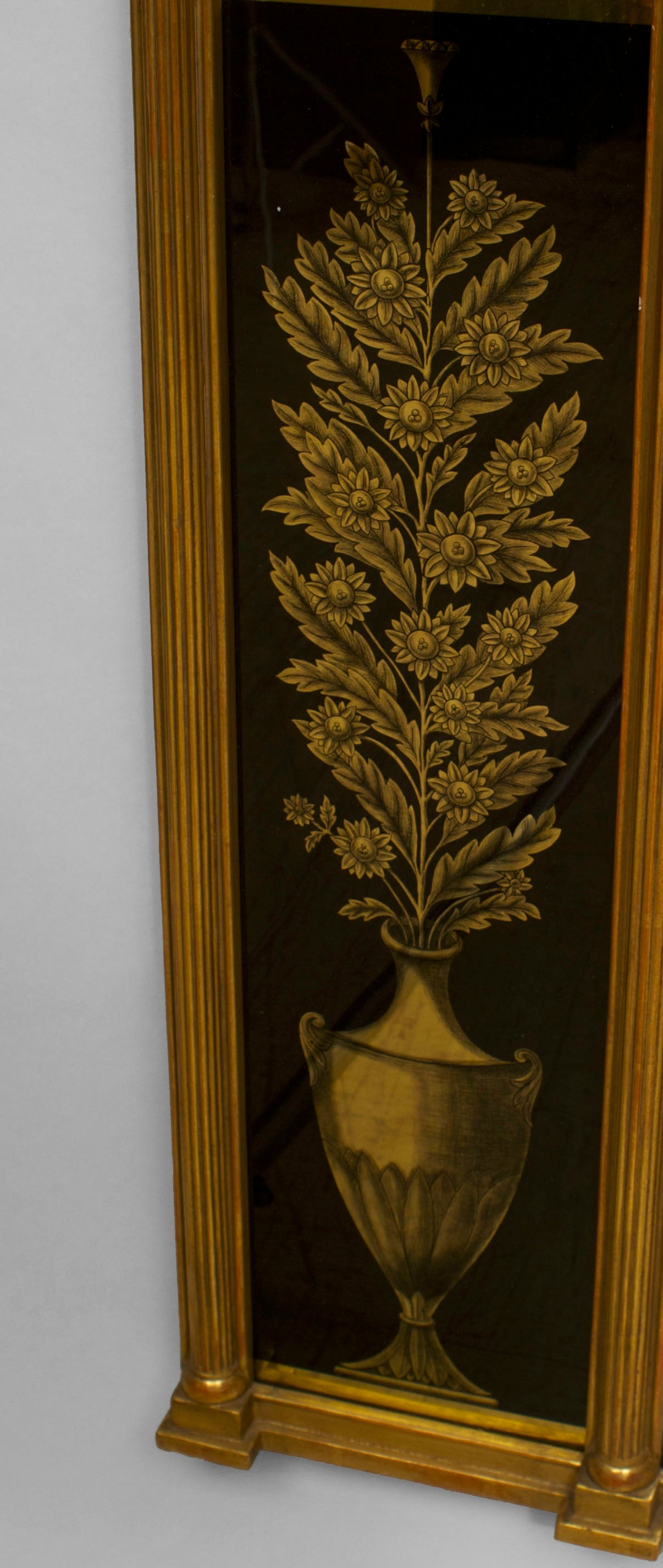 Italian Neo-classic gilt carved frame wall mirror surrounded with black and gold decorated reverse glass panels with urns, griffins, & lyre designs (19th Cent-1 panel cracked)