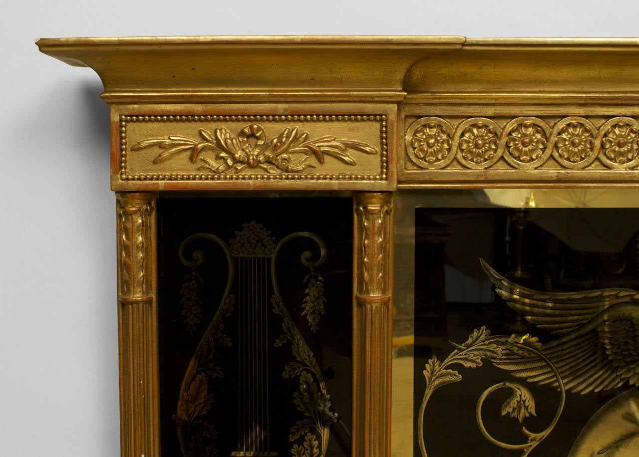 19th Century Italian Neoclassical Wall Mirror Framed in Reverse Painted Glass For Sale 3