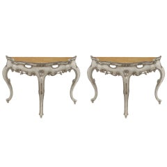 Pair of Early 19th Century Venetian Silver and White Gilt Consoles